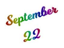 22 september Datum van Maandkalender, Kalligrafische 3D Teruggegeven Tekstillustratie kleurde met RGB Regenbooggradiënt Royalty-vrije Stock Foto