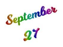 27 september Datum van Maandkalender, Kalligrafische 3D Teruggegeven Tekstillustratie kleurde met RGB Regenbooggradiënt Stock Afbeelding