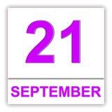 September 21. Day on the calendar. 3D illustration Stock Image