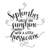 September-de meisjes zijn zonneschijn met een kleine orkaan wordt gemengd die stock illustratie
