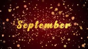 September-de tekst glanzende deeltjes van de Groetkaart voor viering, festival stock illustratie