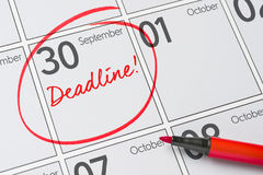 September 30. Deadline written on a calendar - September 30 Royalty Free Stock Photos