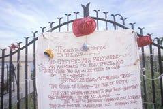 11. September 2001 Denkmal auf der Dachspitze, die über Weehawken, New-Jersey, New York City, NY schaut Lizenzfreies Stockfoto