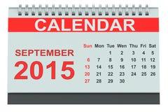 September 2015, desk calendar. Isolated on white background Royalty Free Stock Photos