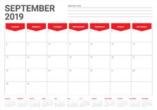September 2019 desk calendar vector illustration. Simple and clean design vector illustration