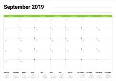 September 2019 desk calendar vector illustration. Simple and clean design stock illustration