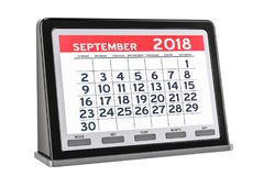 September 2018 digitaler Kalender, Wiedergabe 3D Stockbilder