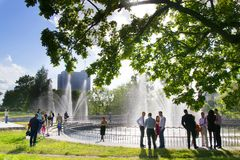11 September 2017 earned the restored fountains around GTRK `amber`. The fountains were not working for more than 30. KALININGRAD, RUSSIA - 16 SEPTEMBER 2017: 11 Royalty Free Stock Photos