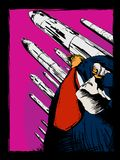 Editorial Cartoon of Donald Trump with KKK Hood. September 18, 2017. Editorial caricature of Donald Trump holding a KKK hood with nuclear missiles behind him stock illustration