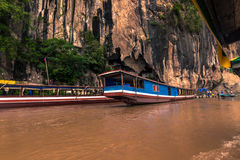 September 21, 2014: Entrance to the Pak Ou caves, Laos royalty free stock image