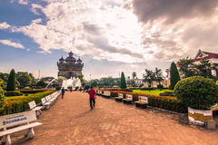 26. September 2014: Erinnerungsbogen Patuxai in Vientiane, Laos Lizenzfreies Stockfoto