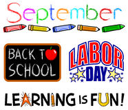 September Events Clip Set/eps. Illustrations of September events including back to school and labor day headlines Royalty Free Stock Photos