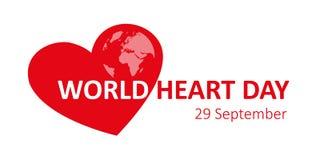 September för världshjärtadag 29 jord royaltyfri illustrationer
