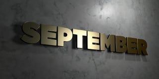 September - Goldzeichen angebracht an der glatten Marmorwand - 3D übertrug freie Illustration der Abgabe auf Lager Stockbilder