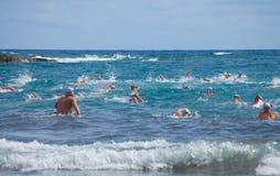 13. September 2014 Gran Canaria, Meer Schwimmen Stockbild