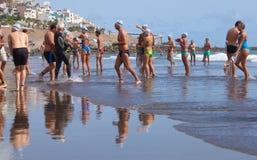 13. September 2014 Gran Canaria, Meer Schwimmen Stockfotografie