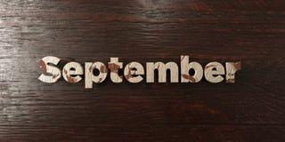 September - grungy houten krantekop op Esdoorn - 3D teruggegeven royalty vrij voorraadbeeld Stock Fotografie