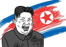 September 06, 2017: Hand drawn portrait of the smilling leader of North Korea Kim Jong-un. September 06, 2017: Hand drawn portrait of the smilling leader of Stock Image