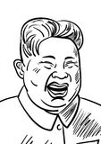 September 06, 2017: Hand drawn portrait of the smilling leader of North Korea Kim Jong-un. Vector illustration in cartoon style.  Stock Photography