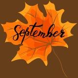 September, hand het van letters voorzien, citaten Moderne motivatiekalligrafie, Royalty-vrije Stock Afbeelding