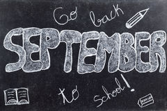 September handwritten on Blackboard Royalty Free Stock Photos