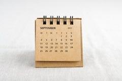september Het blad van de kalender Stock Afbeelding