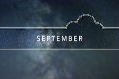 SEPTEMBER-het Concept van de woordwolk Nachthemel met veel Sterren Royalty-vrije Stock Afbeeldingen