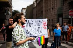 17. September 2017 - homosexuelles Pride March in Belgrad Serbien Opposition für den homosexuellen Stolz stockfotografie