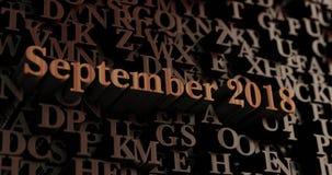 September 2018 - Houten 3D teruggegeven brieven/bericht Royalty-vrije Stock Foto