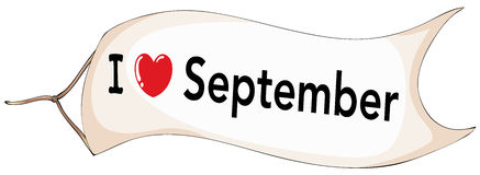September. I love September banner flying Royalty Free Stock Photos