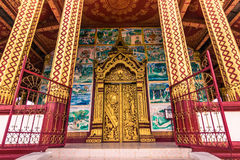 20 september, 2014: Ingang aan Wat Manorom-tempel in Luang Prabang Royalty-vrije Stock Afbeeldingen