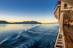 September 14, 2018 - Inside Passage, AK: Cruise passengers exercising at sunrise. September 14, 2018 - Inside Passage, Alaska: Passengers on Holland America stock photography