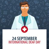 24 September. International Deaf day. Medical holiday. Vector medicine illustration. 24 September. International Deaf day. Medical holiday. Vector medicine Royalty Free Stock Photography