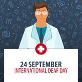 24 September Internationell döv dag Medicinsk ferie Vektormedicinillustration royaltyfri illustrationer