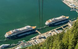 September 14, 2018 - Juneau, Alaska: Aerial view of two Holland America ships. September 14, 2018 - Juneau, Alaska: View from above of two Holland America royalty free stock photography