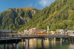September 14, 2018 - Juneau, Alaska: Waterfront businesses along Franklin St. royalty free stock image