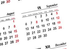 September-Kalender Lizenzfreie Stockfotos