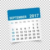 September 2017 Kalender Lizenzfreies Stockbild