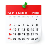 September 2018 - kalender royaltyfri illustrationer