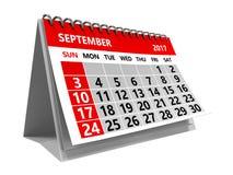 September 2017 Kalender lizenzfreie abbildung