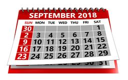 September 2018 Kalender Stockfotos