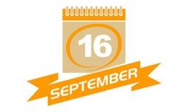 16. September Kalender mit Band Lizenzfreie Stockfotos