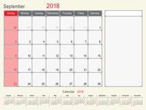 September 2018 Kalender-Planer-Design Stockfotografie
