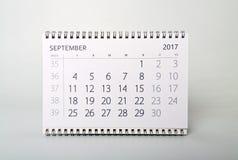 september Kalender van het jaar twee duizend zeventien Stock Fotografie