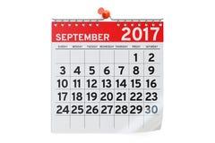 September 2017 Kalender, Wiedergabe 3D Lizenzfreie Stockbilder