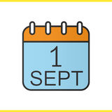 1. September Kalenderfarbikone Lizenzfreies Stockfoto