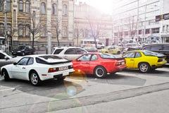 September 3, 2014; Kiev Ukraina; Combo supercars Tre Porsche 944 arkivfoto