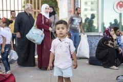 Syrian refugees entering Turkey Royalty Free Stock Photo