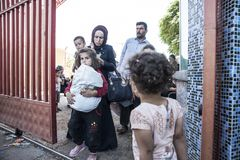 Syrian refugees entering Turkey Stock Images