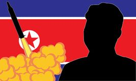 Kim Jong-un North Korea. September, 2017: Kim Jong-un North Korea`s supreme leader, North Korea launching ballistic missile.vector Vector Illustration